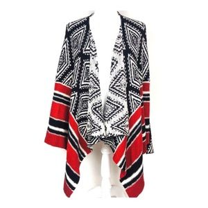 KNOX ROSE Open Front Aztec Cardigan Sweater Small